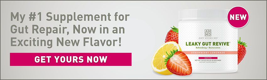 My #1 supplement for gut repair, now in an exciting new flavor! Get Yours now. New. Bottle of Leaky Gut Revive Strawberry Lemonade