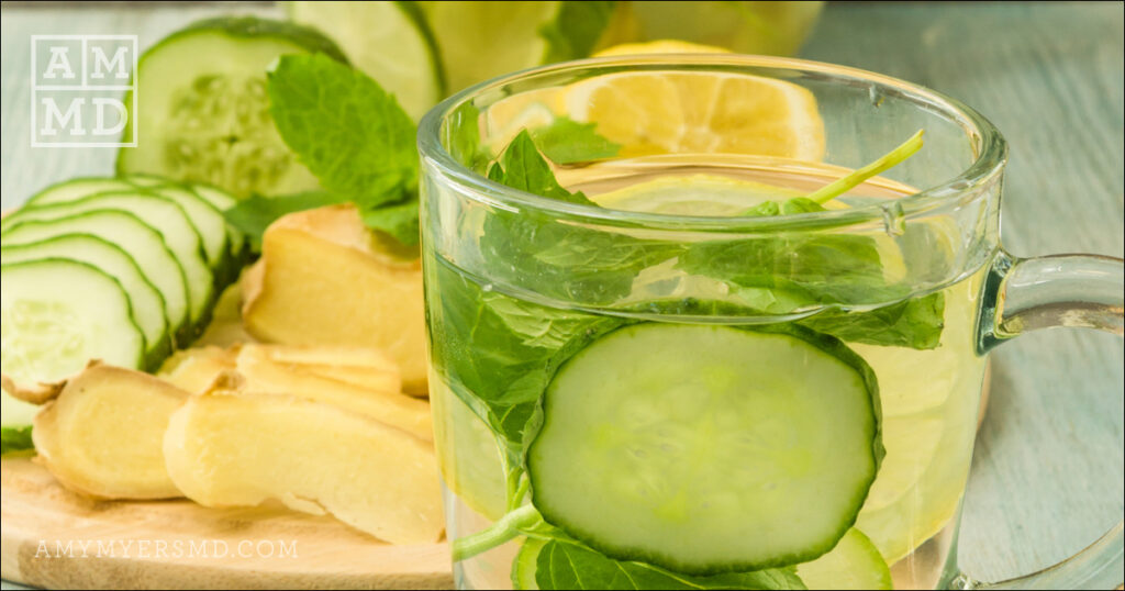 "Cucumber ""Cocktail"" with Ginger, Lemon and Fresh Mint Leaves"