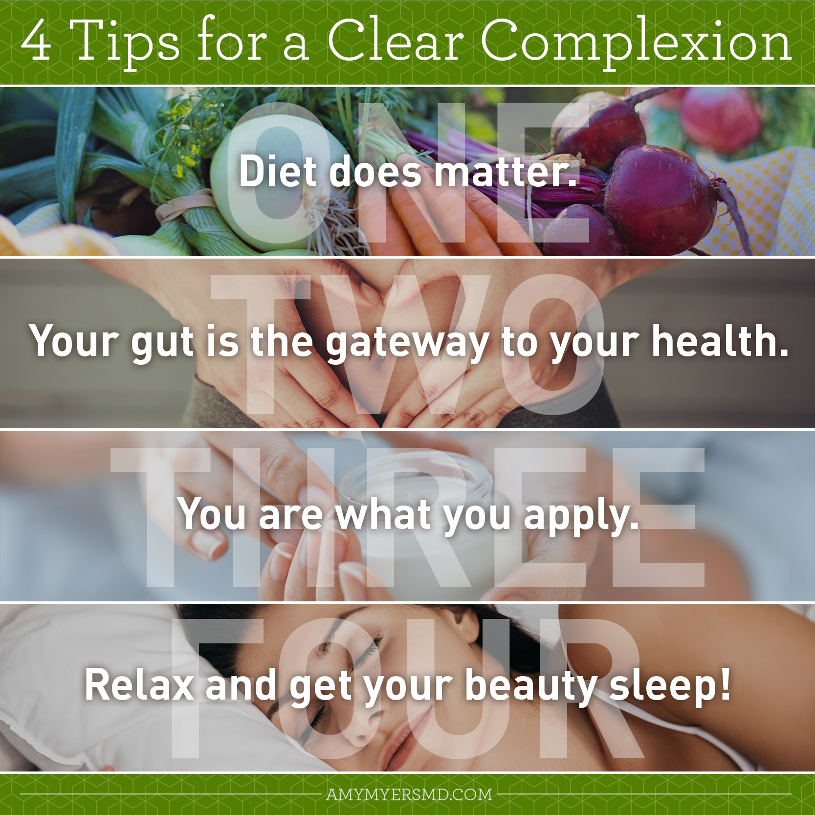 4 Tips for a Clear Complexion - Infographic - Amy Myers MD