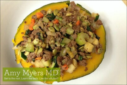 Organic Veggie Stuffed Kabocha Squash with Grass-Fed Ground Beef