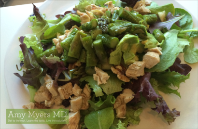 Organic Green Salad with Ginger Garlic Asparagus