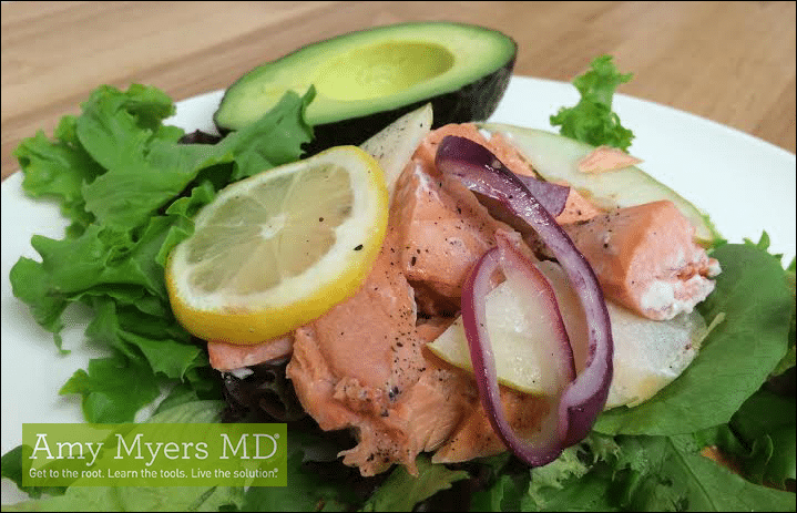Wild-Caught Salmon Salad with Apple and Red Onion - Salmon Salad on a plate - Featured Image - Amy Myers Md®