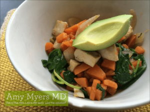 Cinnamon Sweet Potato and Chicken Breakfast Scramble with Sauteed Kale