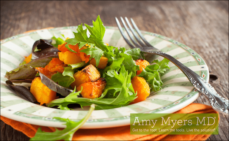 Pomegranate and Butternut Squash Winter Spinach Salad