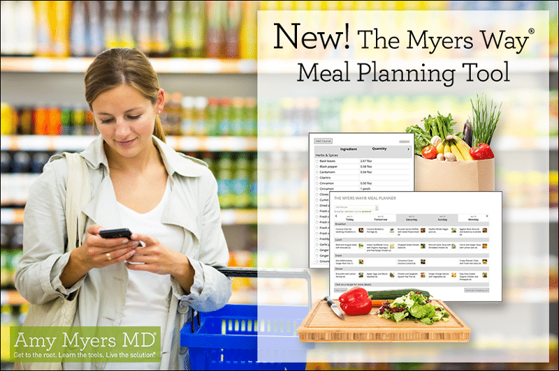 The Myers Way® Meal Planning Tool - A Woman using the Tool While Shopping - Featured Image - Amy Myers MD