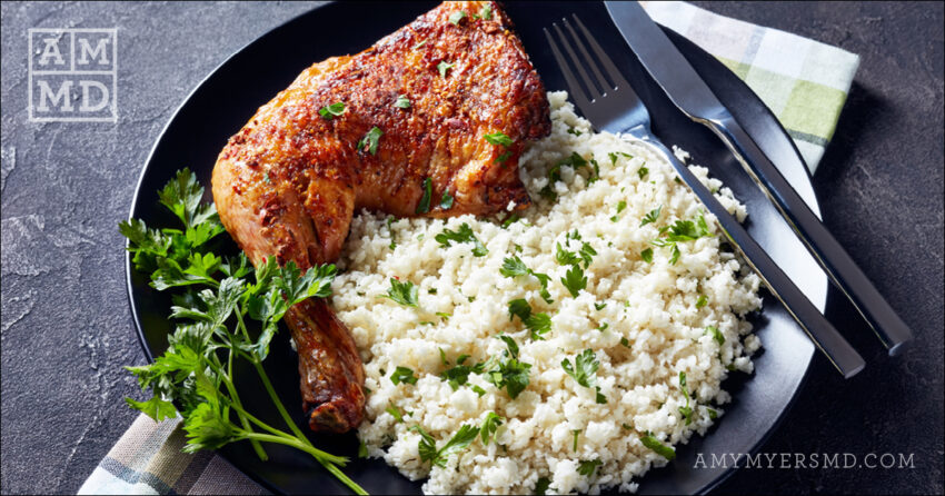 Slow Cooked Chicken Thighs with Cilantro Cauliflower Rice