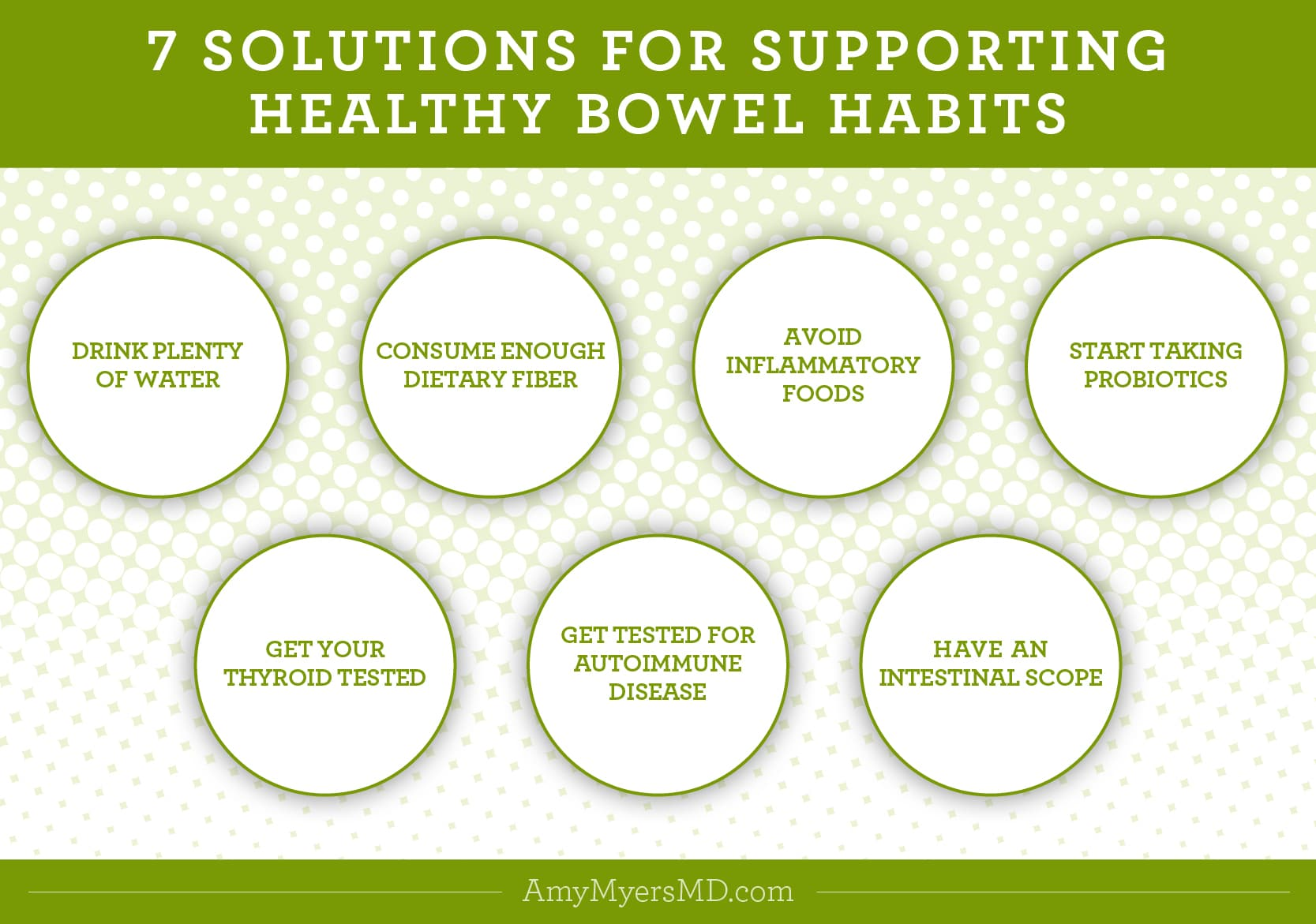 7 Solutions for Supporting Healthy Bowel Habits - Infographic - Amy Myers MD