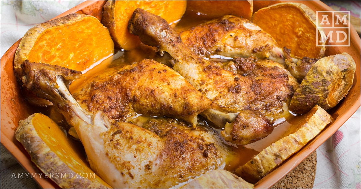Baked Chicken and Sweet Potatoes with Lemon Rosemary Sauce