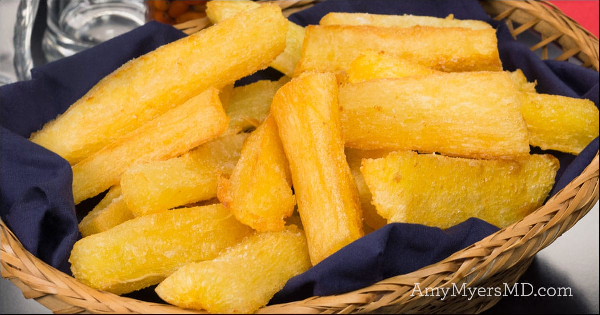 """Yuca """"Fries"""" with Garlic-Lime Sauce - Amy Myers MD"""