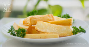 """Yuca """"Fries"""" with Garlic-Lime Sauce"""