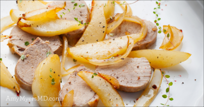 Organic Roasted Pork Tenderloin with Pear Glaze and Pesto