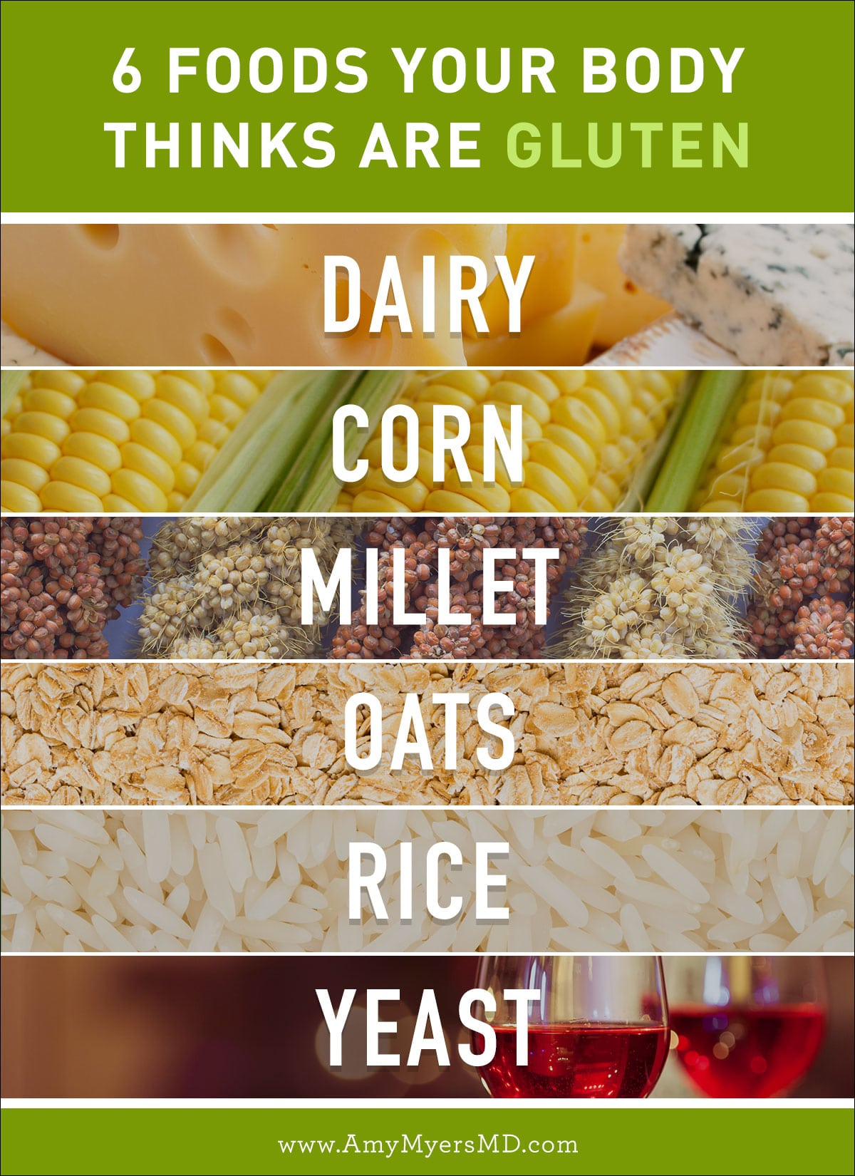 6 Foods Your Body Thinks Are Gluten, or Gluten Cross-Reaction - Infographic - Amy Myers MD