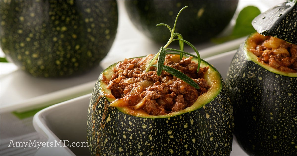 Holiday Stuffed Squash Recipe - Stuffed Squash on a tray - Featured Image - Amy Myers MD®