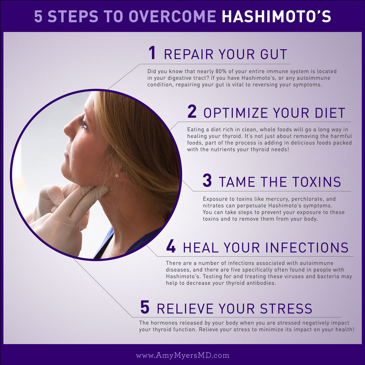 5 Steps to Overcome Hashimoto's - Infographic - Amy Myers MD