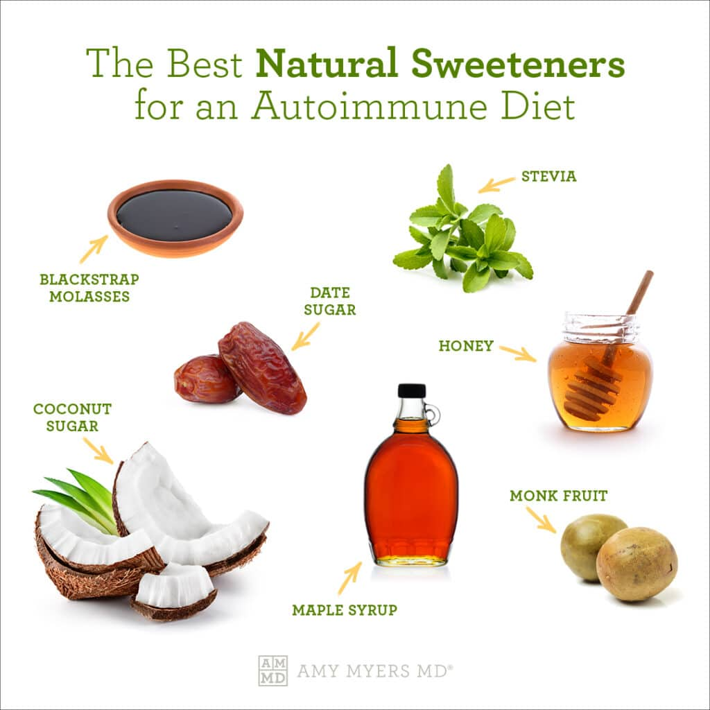 The Best Natural Sweeteners for an Autoimmune Diet - Infographic - Amy Myers MD®