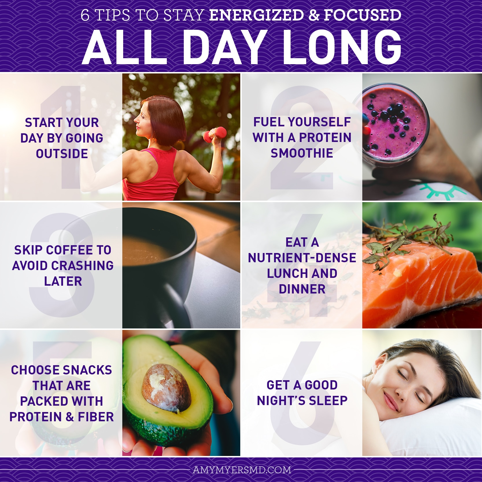 6 Tips to Stay Energized and Focused All Day Long - Infographic - Amy Myers MD