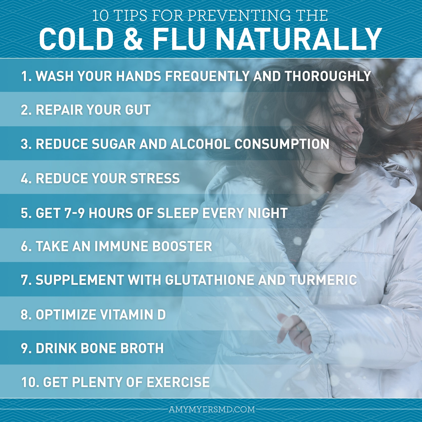 10 Tips for Preventing the Cold & Flu Naturally - Infographic - Amy Myers MD
