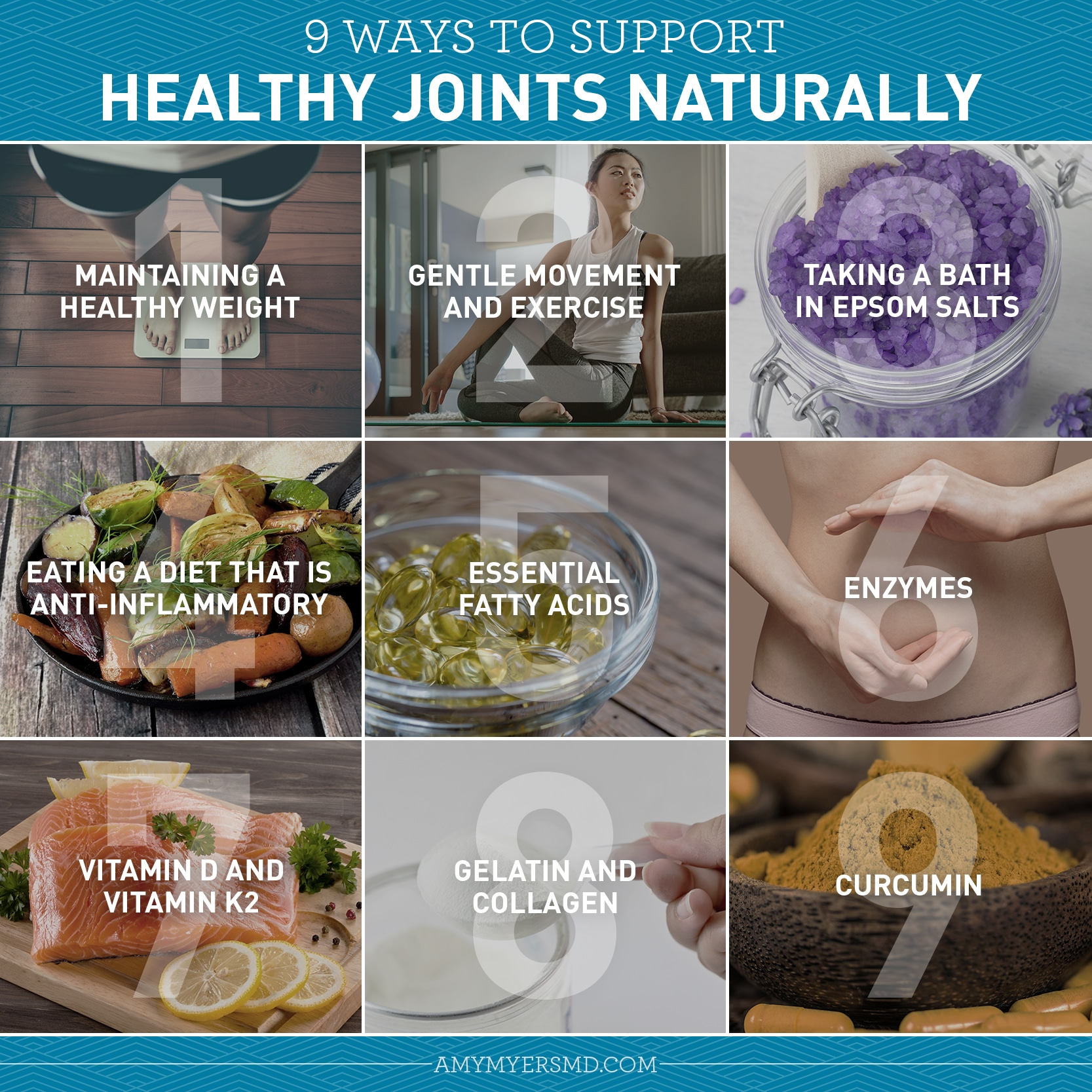 9 Ways to Support Healthy Joints Naturally - Infographic - Amy Myers MD