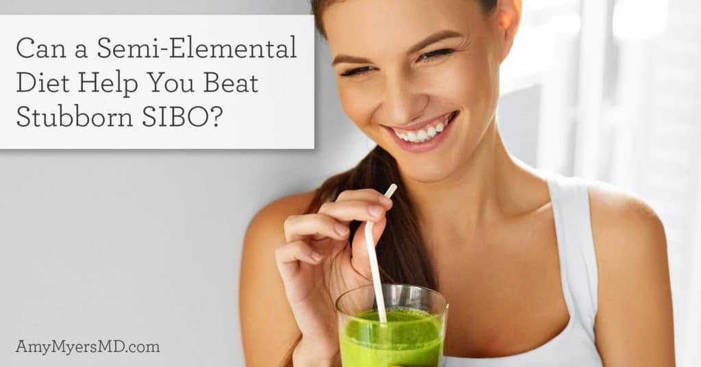 Smiling woman drinking a green smoothie - Semi Elemental diet for SIBO - Amy Myers MD