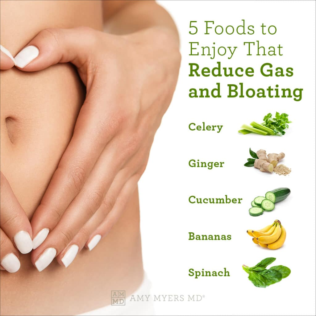 5 Foods to Reduce Gas & Bloating - Infographic - Amy Myers MD®
