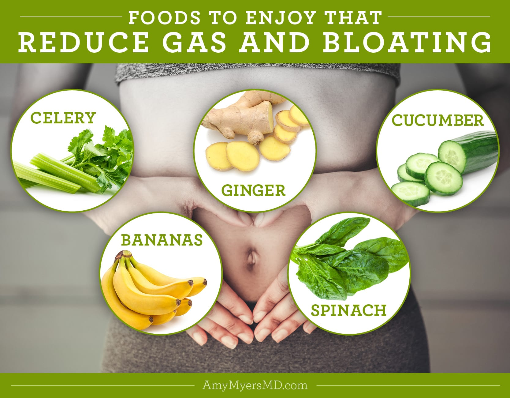 Foods to Enjoy That Reduce Gas and Bloating - Infographic - Amy Myers MD