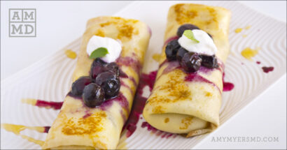 Crepes with Coconut Cream and Berry Compote