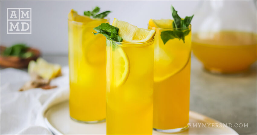 Turmeric Ginger Iced Tea and Lemon Spritzer