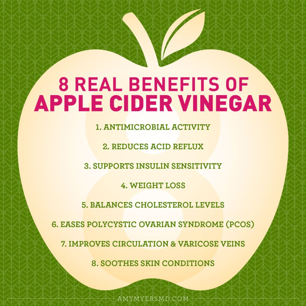 8 Real Benefits of Apple Cider Vinegar - Infographic - Amy Myers MD