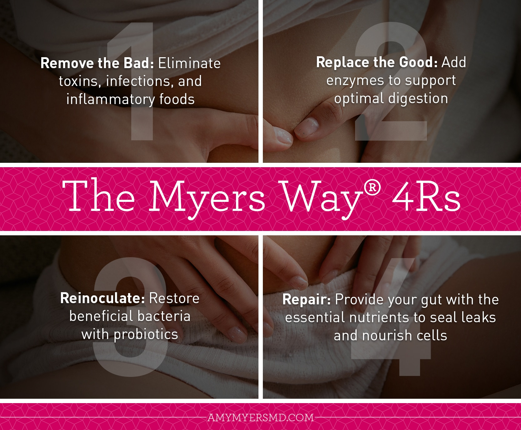 The 4Rs to Repairing a Leaky Gut - Infographic - Amy Myers MD