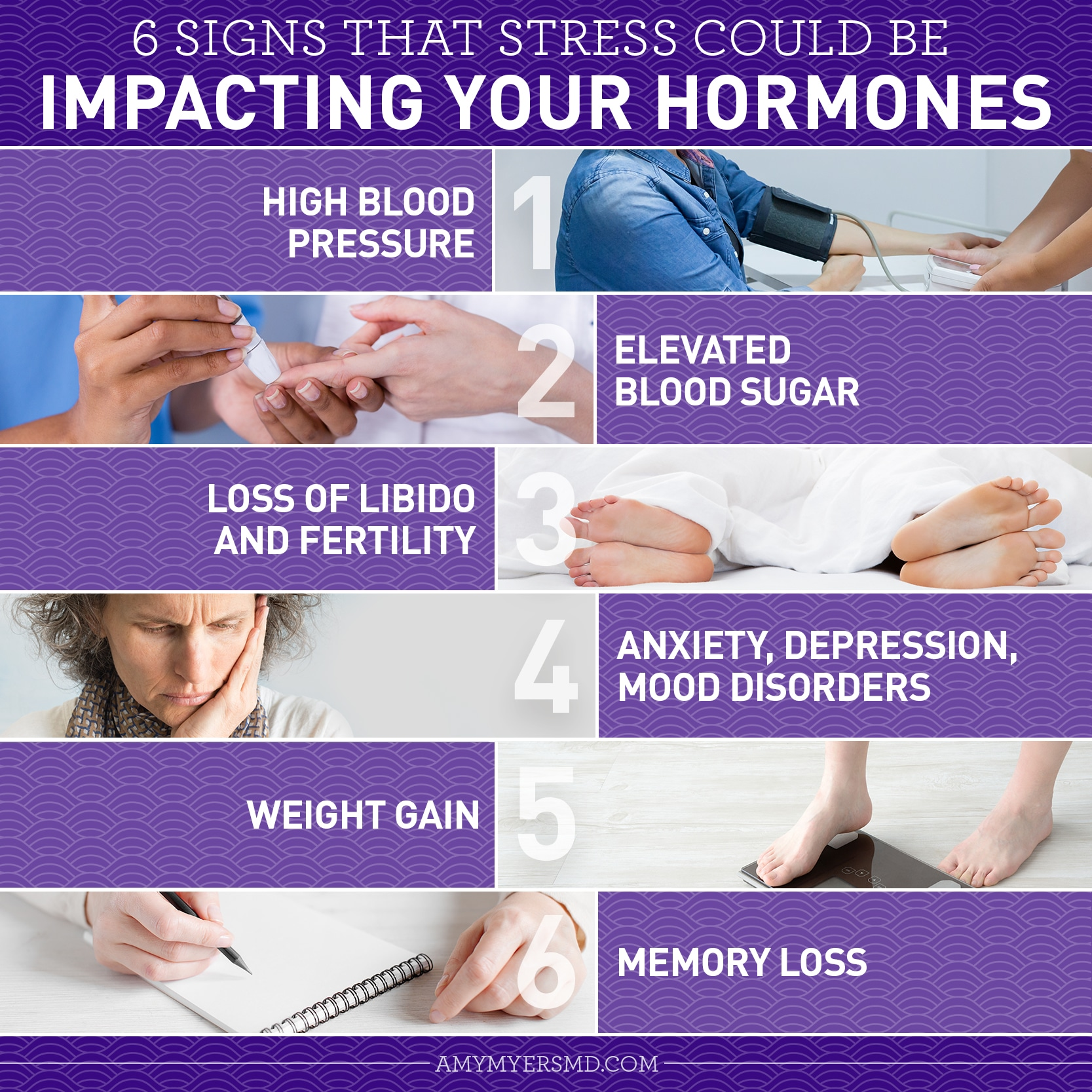 6 Signs That Stress Could be Impacting Your Hormones - Infographic - Amy Myers MD