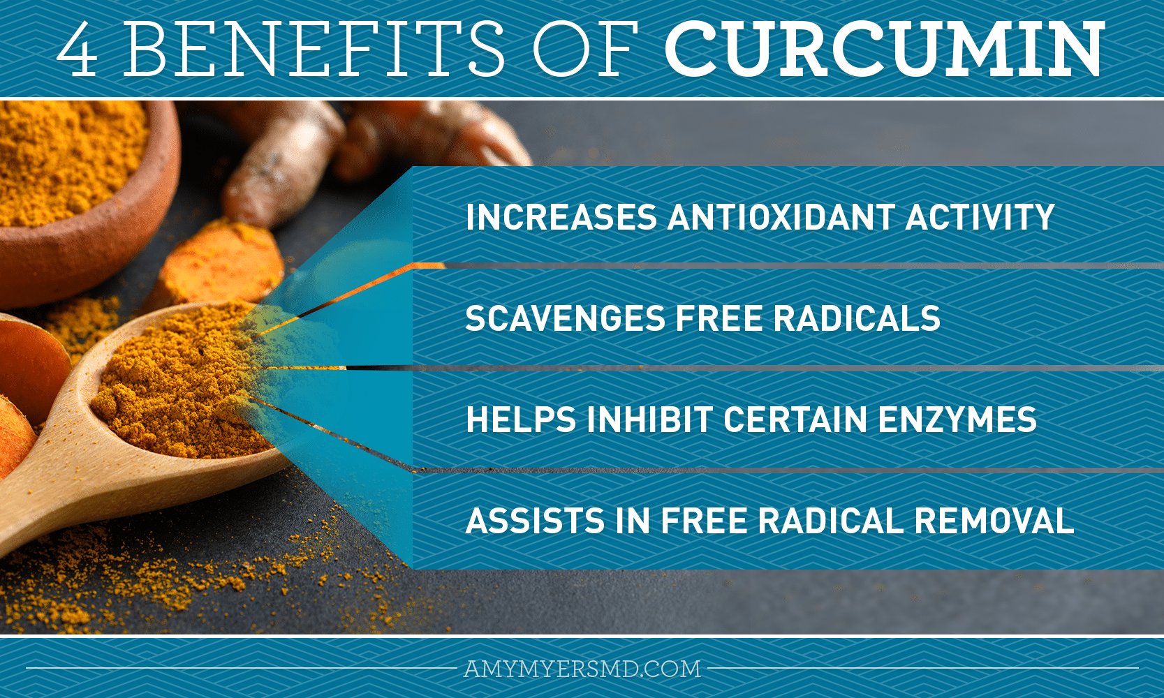 The Benefits of Curcumin - Infographic - Amy Myers MD