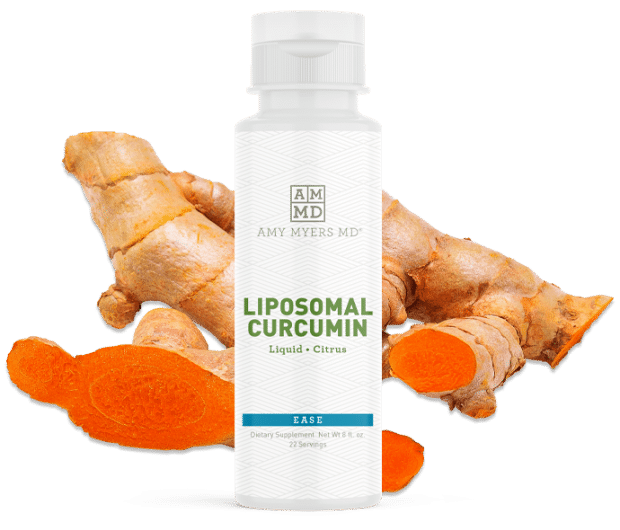 Amy Myers MD Liposomal Curcumin bottle with turmeric root in the background.