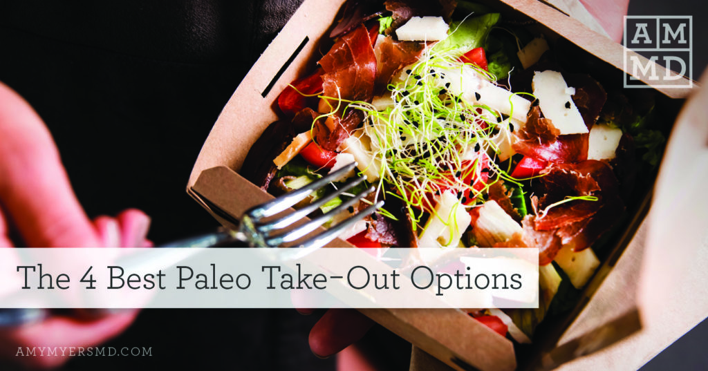 The 4 Best Paleo Takeout Options - Eating a Takeout Chicken Salad - Featured Image - Amy Myers MD