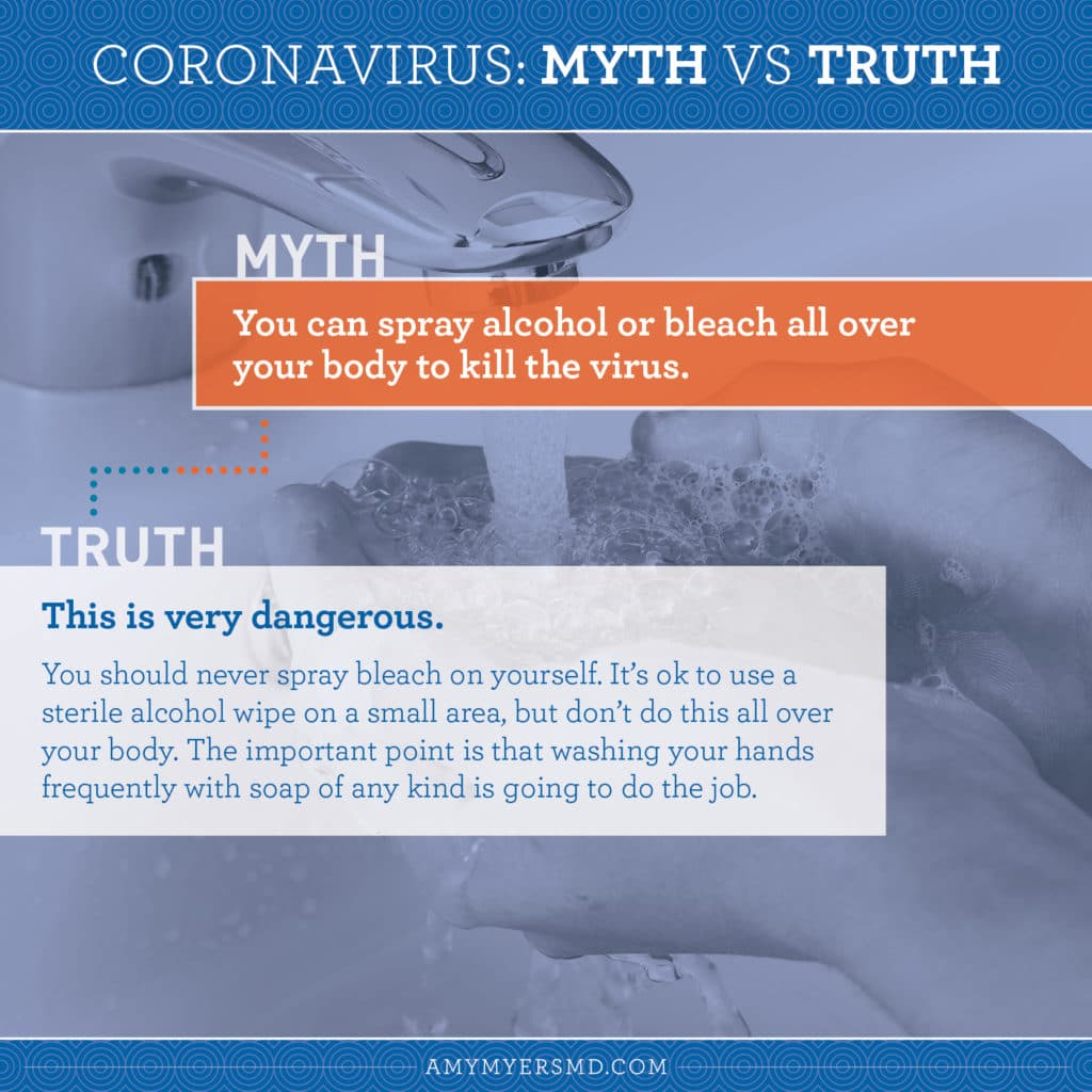 Myth 7: You can spray alcohol or bleach all over your body to kill the virus. - Infographic - Amy Myers MD