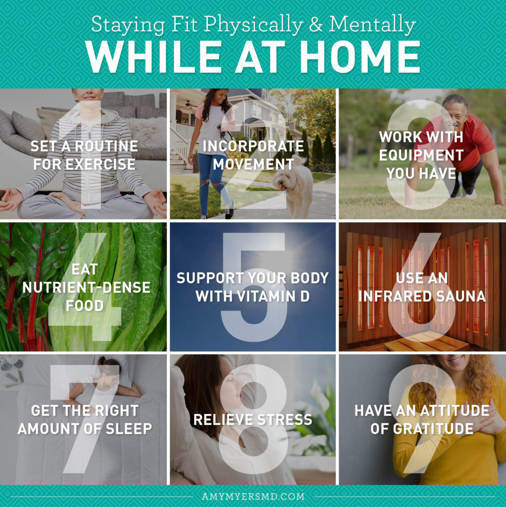 9 Ways to Stay Physically and Mentally Fit While at Home - Infographic - Amy Myers MD