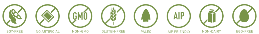 Icons of product benefits: Kosher, Grass Fed, Non-GMO, Non-Dairy, GMP Compliant, Gluten Free, Physician Formulated.