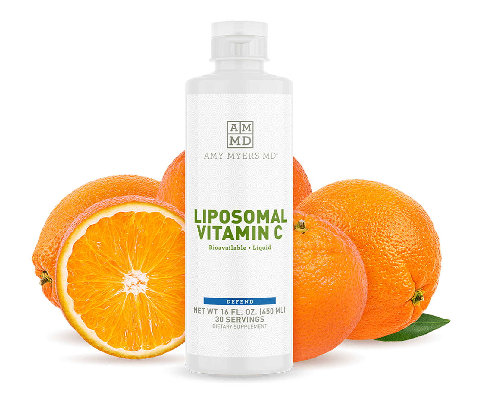 Liposomal Vitamin C bottle with oranges