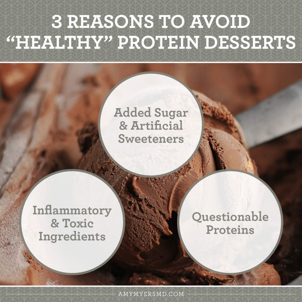 3 Reasons to Avoid So-Called Healthy Protein Desserts - Infographic - Amy Myers MD®