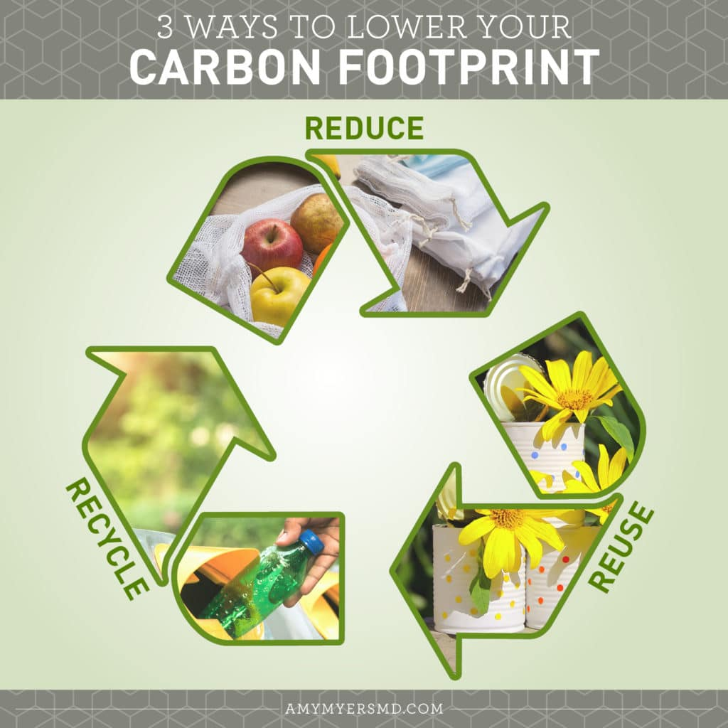 3 Ways to Lower Your Carbon Footprint - Reduce, Reuse, Recycle - Infographic - Amy Myers MD®