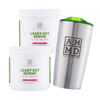 2 bottles of Leaky Gut Revive and a Tumbler