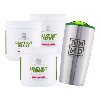 3 bottles of Leaky Gut Revive and a Tumbler