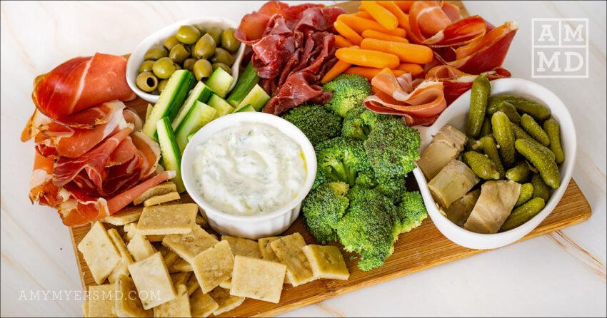 AIP Charcuterie Board with Tzatziki Dip