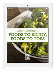 Autoimmunity Foods to Enjoy, Foods to Toss eBook cover on a white tablet
