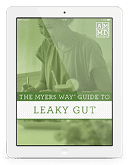 The Myers Way® Guide to Leaky Gut eBook cover on a white tablet