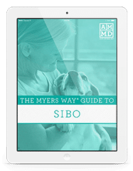 The Myers Way® Guide to SIBO eBook cover on a white tablet