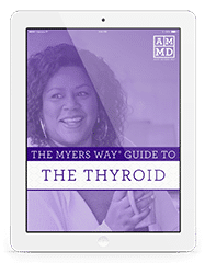 The Myers Way® Guide to the Thyroid eBook cover on a white tablet