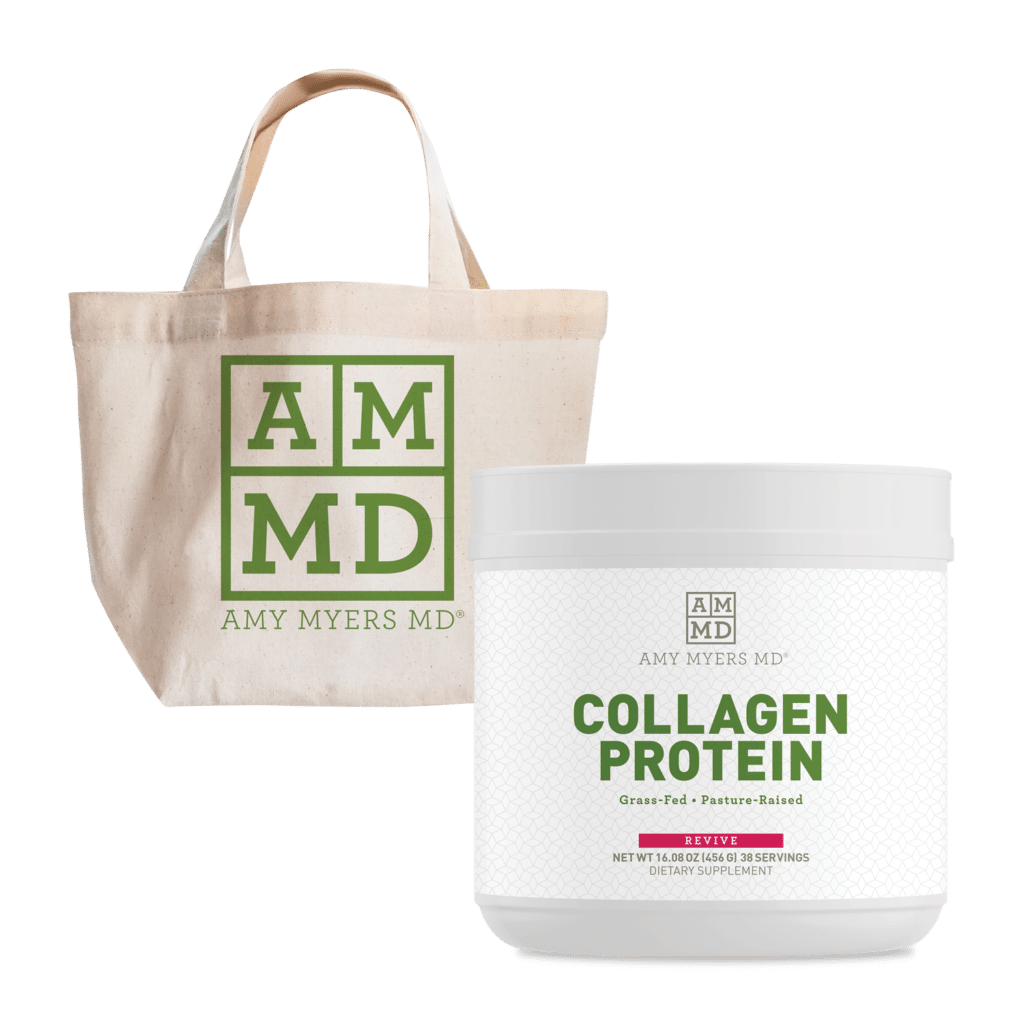 Tote bag and bottle of collagen protein