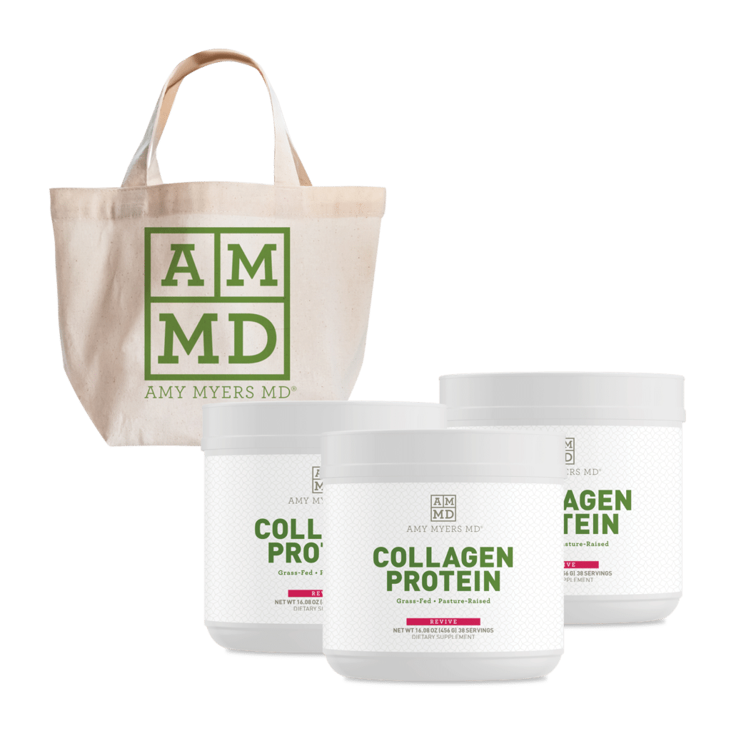 Tote bag and three bottles of collagen protein